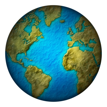 Digital llustration of the earth with green land and blue seas. Includes a clipping path.