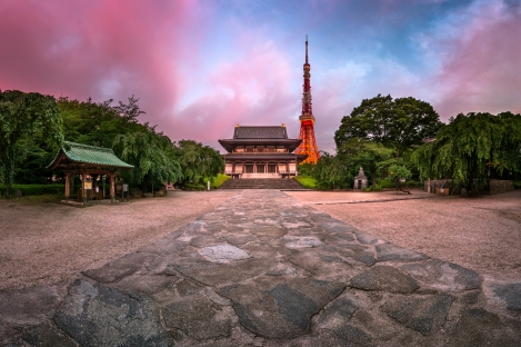 Zojo-ji Temple and Tokyo Tower in the Morning, Tokyo, Japan