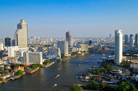 chao phraya river city scape Bangkok Thailand